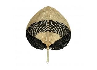 Světle hnědo černý vyplétaný srdcovitý dekorativní vějíř - 40 cm