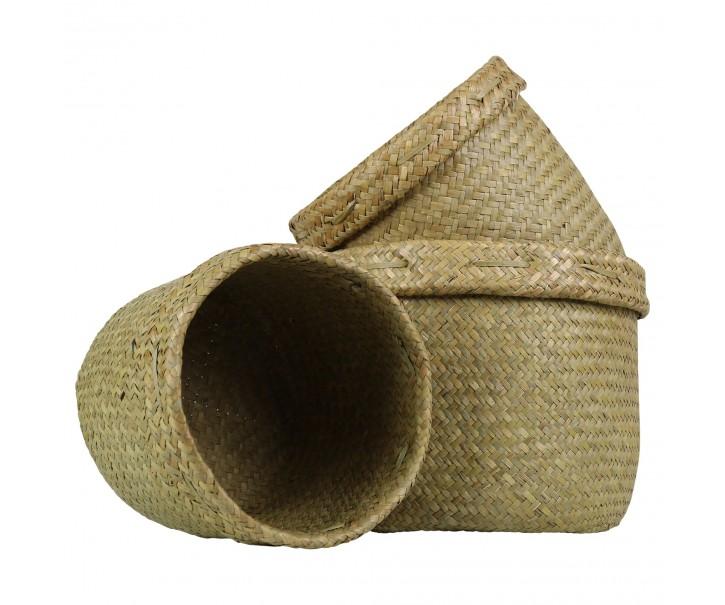 Pletené košíky z mořské trávy s ohrnutým krajem (sada 3 ks ) - 27*23 / 23*21 / 20*18 cm
