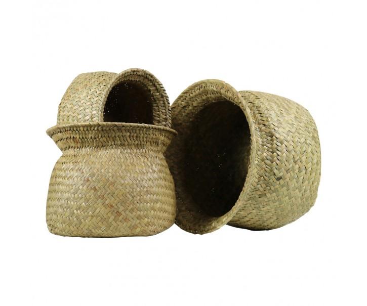 Pletené košíky z mořské trávy s rozšířeným hrdlem ( sada 3 ks ) - 27*19 / 22*18 / 17*14 cm