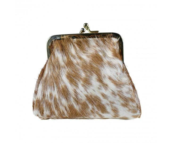 Kapesní peněženka z hovězí kůže hnědo bílá - 14 * 12 * 8 cm