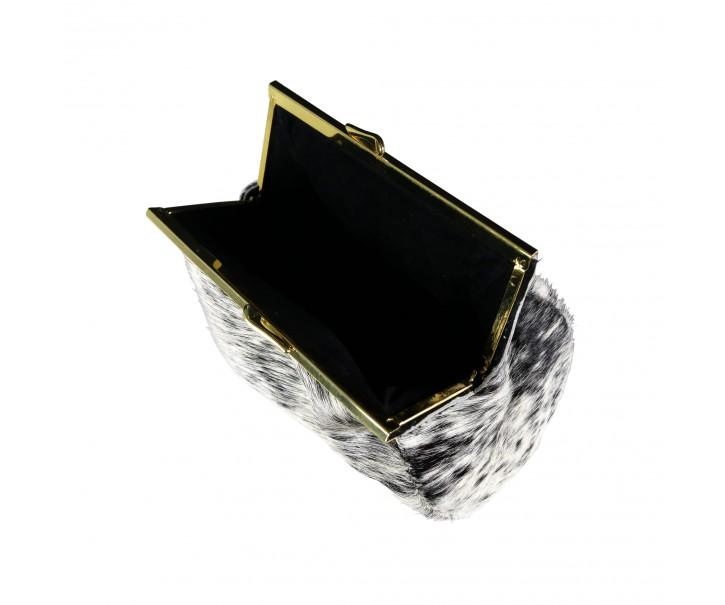 Bílo šedá kabelka přes rameno z hovězí kůže - 16 * 14 * 9 cm