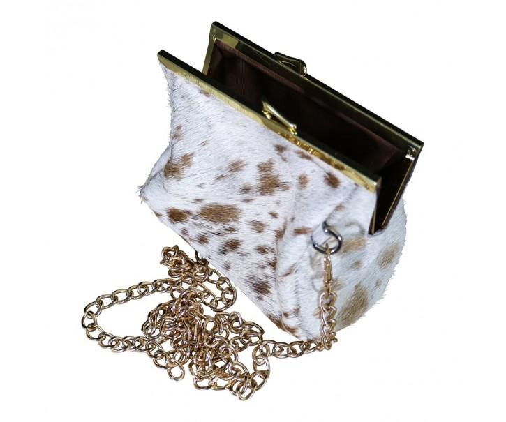 Bílo hnědá kabelka přes rameno z hovězí kůže - 16 * 14 * 9 cm