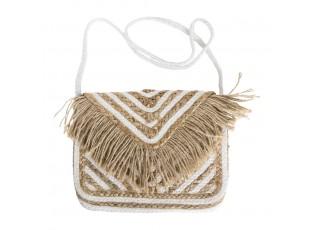 Bílo hnědá jutová taška přes rameno - 30 x 20 cm