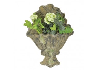 Zelený terakotový nástěnný truhlík/květináč s mechovou patinou - 32*10*43 cm