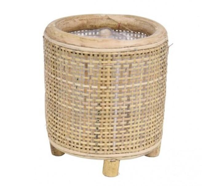 Kulatý bambusový květináč na nožičkách Bamboo - Ø14*16 cm