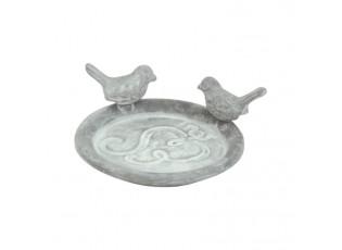 Šedé litinové pítko/krmítko pro ptáčky Bird - 13*18*7 cm