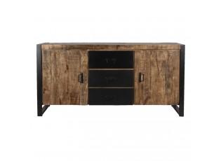 Dřevěná skříň Decor s kovovou konstrukcí a šuplíky - 150*40*80 cm
