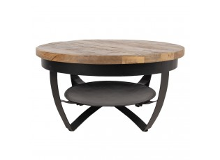 Kovový konferenční stolek Hany s dřevěnou deskou - Ø 65*35 cm