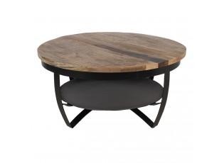 Kovový konferenční stolek Hany Max s dřevěnou deskou - Ø 90*45 cm