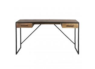 Černý kovový stůl Desi s dřevěnou deskou a šuplíky - 140*40*78 cm