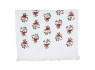 Bílý kuchyňský ručník s růžemi - 40*66 cm