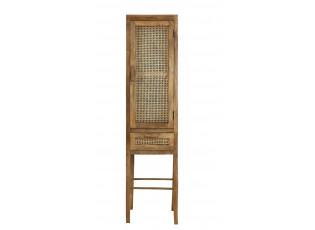 Vysoká dřevěná komoda Nipas se slaměným výpletem - 100*40*80 cm