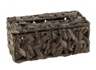 Tmavě šedý přírodní zásobník na papírové kapesníky z rákosu - 25,5*14*9,5 cm