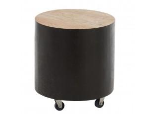 Dřevěný kulatý odkládací stolek na kolečkách - Ø 40*44cm