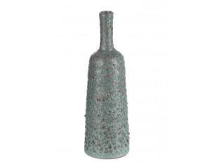 Tyrkysovo - šedá terakotová váza Relief  - Ø 9*33 cm