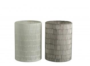 2ks veliké šedé skleněné svícny Stripe - Ø 14*20cm