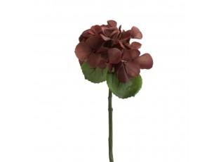 Hnědá dekorační květina Hortenzie - 12*32 cm