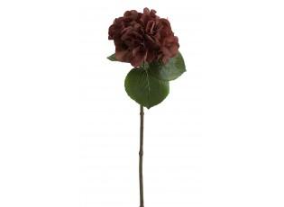 Hnědá dekorační květina Hortenzie - 17*62 cm