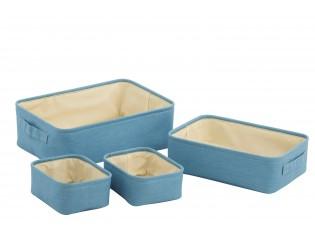 4ks modré látkové košíky Jeans blue - 31*20*11cm