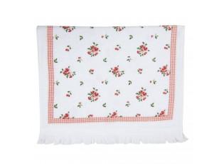 Bílý kuchyňský froté ručník s růžemi I - 40*66 cm