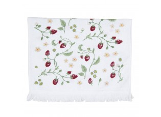 Bílý kuchyňský froté ručník s jahůdkami - 40*66 cm