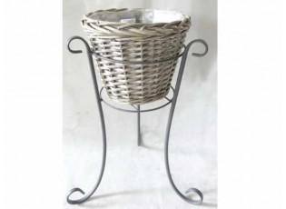 Kulatý dřevěný květináč na kovovém šedém stojanu - Ø37*52 cm
