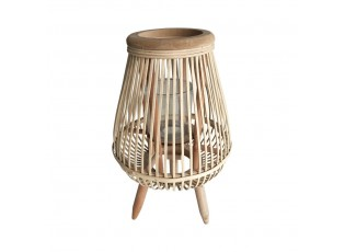 Světle hnědá proutěná stojací lucerna Lamba - 18*18*41 cm