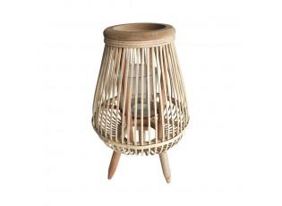 Světle hnědá proutěná stojací lucerna Lamba mini - 15*15*30 cm