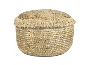Jutový pletený puf na sezení s třásněmi - 50*50*35cm
