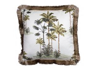 Sametový krémový polštář s palmama a třásňovitým okrajem - 45*45*10cm