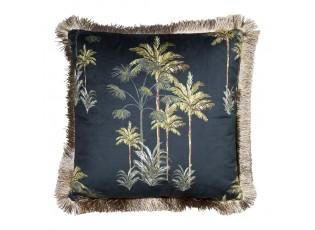 Černý sametový polštář s palmami a třásňovitým lemem - 45*45*10cm