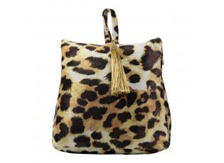 Sametová dveřní zarážka s motivem kůže leoparda - 17*10*18cm