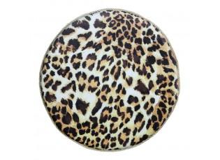 Kulatý sametový podsedák s motivem leopardí kůže - Ø 40*3cm