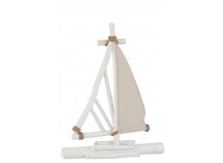 Bílo hnědá dřevěná dekorativní loďka - 45,5*8,5*59 cm