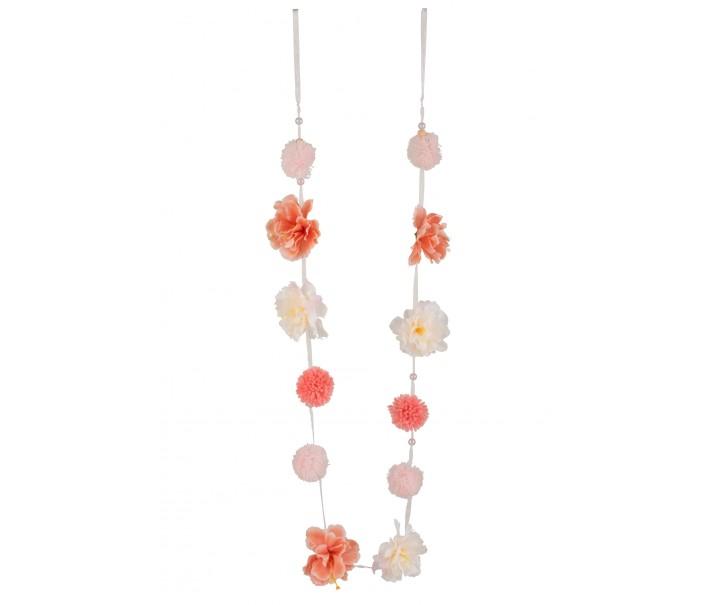 Broskvovo - lososová girlanda s květinami - 9,5*5*145 cm