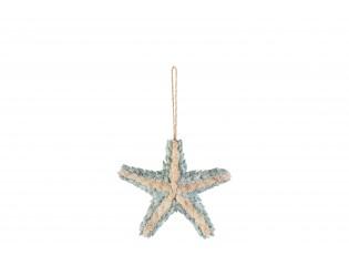 Závěsná dekorativní hvězdice z mušliček - 16*4*26,5 cm