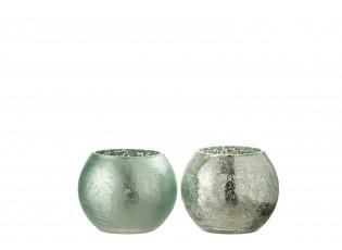 2ks zelený svícen na čajovou svíčku s popraskáním - 12,5*12,5*10 cm