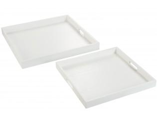 Bílé dřevěné servírovací tácy s otvory ( 2 ks ) - 50*50*5 cm