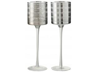 2ks Stříbrný skleněný svícen na noze s etnickým vzorem L - 10*10*30 cm