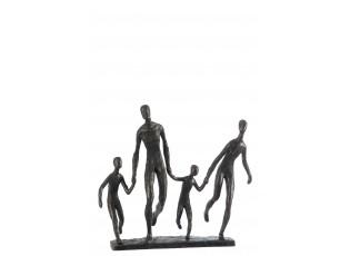 Kovové sousoší běžící rodiny - 34,9*12*31,2 cm