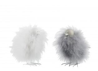2 ks dekorativní soška chlupatého ptáčka - 16*6,5*14 cm