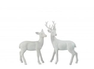 Bílé dekorativní sošky jelena a laně - 28,5*6,5*22 cm