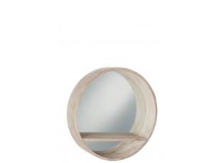 Světle hnědé dřevěné kulaté zrcadlo s poličkou - 70*15*70 cm