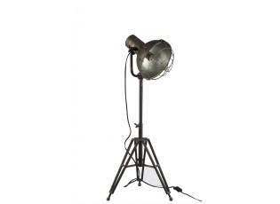 Stojací lampa kulatá v kovově šedé barvě - 35*30*93 cm