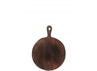 Hnědé kulaté prkénko ze dřeva s rukojetí - 39*29,6*1,5 cm