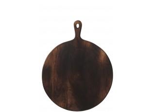Tmavě hnědé kulaté prkénko s rukojetí - 50,5*39,8*1,7 cm