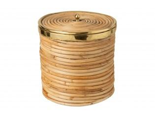 Ratanový koš s víkem a zlatým lemováním Gommy - Ø 26*30cm