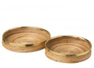 Ratanové podnosy se zlatým lemováním Gommy - Ø 35*7cm, Ø 32*7cm