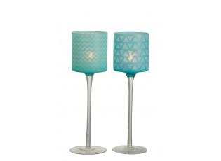 Modrý skleněný svícen na noze na čajovou svíčku M (2 ks) - Ø 9*30 cm