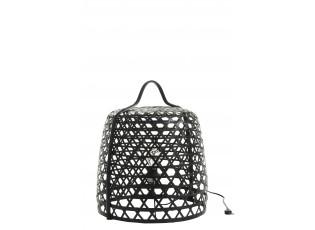 Vyplétaná černá stolní lampa Bambo z bambusových listů - Ø 45*52,5 cm